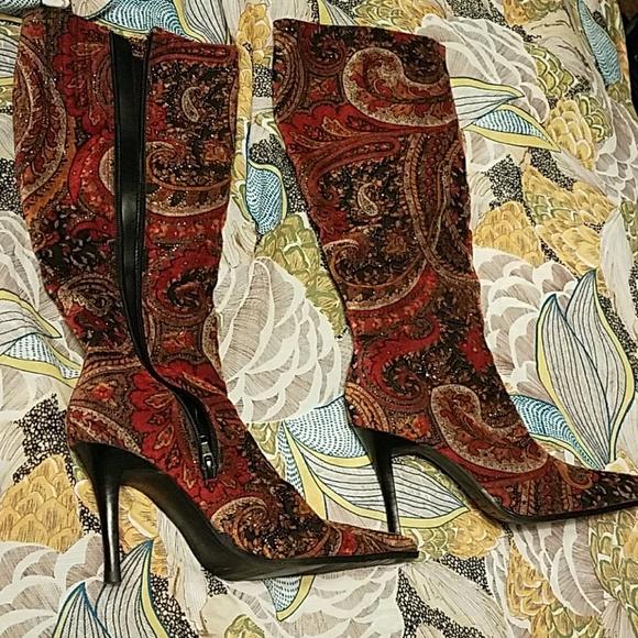 a41c49daf8a Dillard's Paisley velvet boots